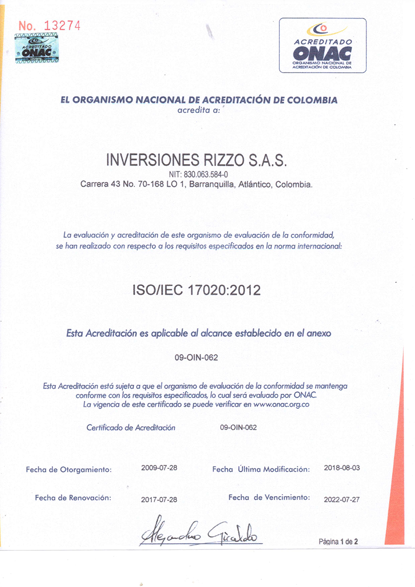 Certificado de Acreditación ISO/IEC 17020:2012